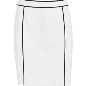 WHBM Black and White Piped Pencil Skirt